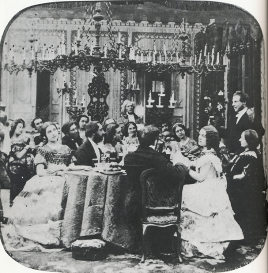 Dinner party, c. 1860. source: Michael and Ariane Batterberry's Fashion: The Mirror of History, 1982.